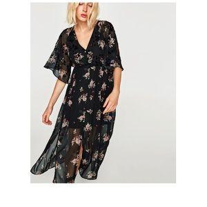 Zara long black floral dress, Size M